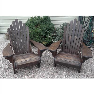 Vintage Oak Pair of Adirondack Chairs