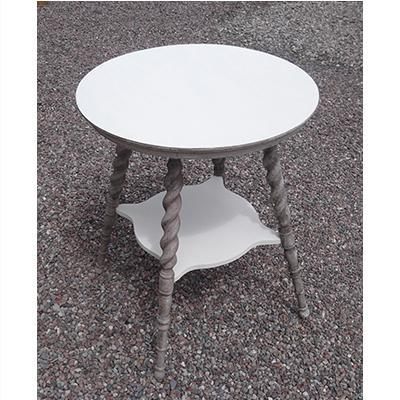 White and Grey Side Table with Spindle Legs