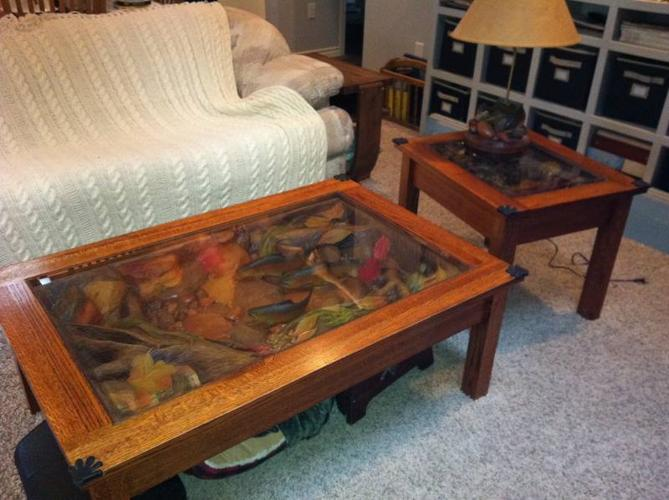William Herrick Fish Coffee Table End And Lamp
