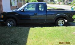 Make Ford Model F-150 Series Year 2002 Colour navy blue kms 220000 Trans Automatic 02 f 150 xl seats 6. side doors, box liner 220,000 km needs 2 front tires I have new rockers for it just haven't put them on. new muffler, has trailer tow package. new plug