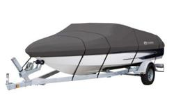 Brand new in boxBoat Cover (Classic accessories) fits boat 14-16 feet--- asking $100.00Perfect protection for your boat while traveling or storage. The Stormpro Boat Cover has high strength polyester StormPro fabric designed for extra durability and