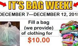 Come fill up a bag with clothes! (We provide bags) for only $10.00. At CCA! From Dec 7 - Dec 12th, 2015. Mon-Sat 10am-5pm. :)