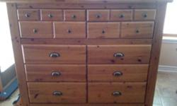 """Beautiful 3pc bedroom set includes a large 10 drawer dresser and two bedside tables each with 2 drawers. The dresser comes with a matching mirror (height 34.5"""" length 46""""). Great condition!! Dresser measurements Length 57"""" Height 48"""" Width 19"""" Bedside"""