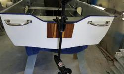 10 foot fiberglass boat professional bodywork and fresh endura paint work done .comes with 30 lbs thrust minkota motor .12 volt battery and box .five life jackets with carrying case and oars .have depth sounder too if interested 1500 or best offer