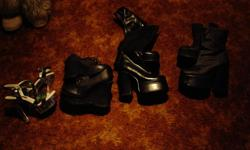 10 pairs of size 7 shoes/boots for sale!   4 items in picture #1: *Clear Heel Stilettos (size 7)- Bought for $130 a few years ago, but the man at the store dyed a white pair black and ripped me off big time. Didn't realize until I got home what had