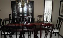 The table has centre leaf with 8 chairs with 2 captain chairs - 80 x 41. The hutch as lights inside - 64 x 15 x 48, Buffet - 64 x 17 x 28. Excellent condition, Almost like new. Moving sale.