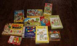 "I have 11 games and Puzzles for kids. Vintage . Asking $20.00 Winnie the pooh picture puzzle blocks 10"" Circular Puzzle 1000 wooden beads The Simpsons 28 super sized dominoes Paint Wheels Walt Disney Master Mind Game (Parker Brothers) Walt Disney puzzle 4"