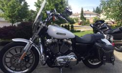 Immaculate 2008 Harley Davidson 1200 Sportster Low. lady owned with only 19,776 kms. This bike is fuel injected, comes with quick release wind shield, highway pegs, saddle bags, additional solo mustang seat and aftermarket pipes. This bike needs to be