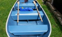 12 foot Sears Gamefisher aluminum boat in good condition. Fits on roof rack or in back of truck, measures 51 inches across at widest point. Comes with oars, 40 lb thrust Minn Kota Endura motor, Kirkland battery with box, scotty rod holders and 2 life