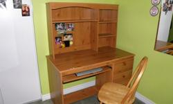 heavy wood desk & chair excellent condition, $130 or best offer.