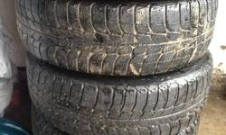 """Match the picture to the description :)   1- Michelin X-ice Winter Tires     215/60R16     15"""" 5 bolt steelies     $250   2- Goodyear Allegra Winter Tires     185/65R15     NO RIMS     $175   3- Wintermark MagnaGrip Winter Tires     195/65R14     14"""" - 4"""