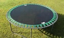 14' trampoline with reinforced eyelets. Well used, but in great condition. Email or call 250-710-8121