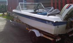 """14' fiberglass runabout with tonnau cover with 85 hp Evinrude outboard ( 16' bunk boat trailer with 12"""" tires, good lights $500. extra )"""