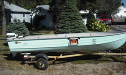 14 foot aluminum mirrocraft with 15 hp johnson. Motor is 1997 and looks and runs great. The boat is deep and wide with high seats. No dents and no leaks. Trailer not included but can possibly deliver. Asking $1850 obo.