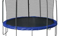 """14"""" ft trampoline with enclosure for sale. It is similar to the attached image. Excellent condition. Seldom used. $250 obo."""