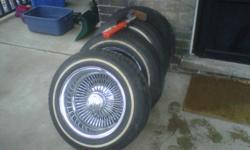 """All Chrome 14"""" OG Wire Wheels With Adapters, Knock-offs, K-O Tool And Brand New 175/70/r14 Hankook White Wall Tires,....   $800 FIRM * Zero Rust"""