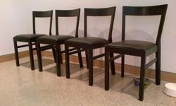 Purchased 2 years ago for 79.99 + HST (each)... asking 150 for the set of 4 chairs - in good condition.Chair: blackPadded seat in hard-wearing leather; easy to keep clean.Main parts: Solid birch, Stain, Clear acrylic lacquerSeat: Plywood, Polyurethane