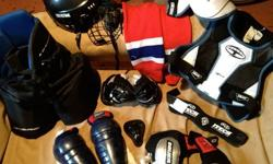 Top quality Hockey Gear for Kids 8 - 12 years [depending on size]:Shoulder & Chest PadPadded ShortsShin Pads//Knee GuardsElbow GuardsNeck GuardHockey Socks//Leg WarmersJockHelmet and Helmet Cage Guardover $500 worth of equipment, asking $150.00 or your