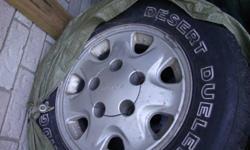 "15"" Aluminum rims with 205/75/15 Desert Dueler tires of from 95 Suzuki Sidekick"