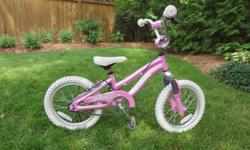 "Marin Tiny Trail 16"" girls' bike - aluminum frame - front suspension - coaster brake and hand brake - kickstand - training wheels included (but not installed) In great condition. Price firm."