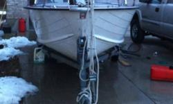 16.5' starcraft aluminum boat with 60 hp 2 stroke Evinrude. Steering column, electric start, electric bilge pump, trailer included, humminbird fishfinder installed and included, new drivers seat, needs new passenger seat, trailer needs a new light, and