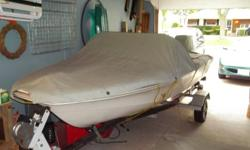 """16 ft fiberglass boat 4 new swivel seats 40 h.p johnson outboard engine new plexi molded windshield new carpeting (green) new switches and stern light new steering wheel and rigging """"boat was completley redone again! Trailor in very good condition with"""