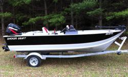 16 foot Smoker Craft, 40 Mercury 2 stroke, with EZ load trailer. Boat is in good condition, very reiable motor serviced summer 2011 runs great. Nice deep hull makes boat big enough for the great lakes, but small enough for inland lakes.Always stored