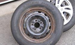 Uniroyal tiger paw  (ice & snow) P225 60/R16 5 bolt pattern came off a chrysler intrepid will fit other chrysler 5 bolt (caravan, etc) used for 2 seasons approximatly 4000 kms on them before car was sold lots of tread left have a set of plastic wheel