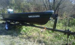 The boat is a good solid boat, it has no cracks and does not leak The trailer has new tires and rims and is in decent shape. The boat comes with: - Oars, anchor, safety kit, and motor lock. - Minn kota bow mount trolling motor with 28lbs of thrust, foot
