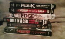 hello there, i am selling my wrestling dvd collection, i have a total of 16 titles, at a total of 100 hours of wrestling entertainement. All of these are in GREAT condition and have been watched once each, and all were bought new. email me at