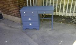 Beautiful antique desk for salePerfect condition and small enough for your apt/condo/Recently painted Mariner Blue with all new white hardwarePerfectly clean from smoke/pet free homeAll drawers lined in fresh white padded paper