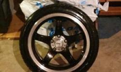 """Selling my 17"""" DAI alloy GTR sport rims with tires. 5 bolt universal. 2 tires need to be replaced and 2 are about half. 1 rim has abit of road rash but other than that very nice rims. Paid $1600 with tires want $800 obo. Ask for more info email"""