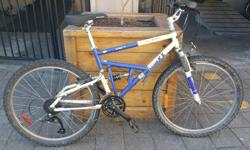 """Rock downhill riding with this exceptionally affordable trail bike! Fully reconditioned to take on the trails around Mount Benson. 17"""" suits 5'5""""- 5'9"""" *** Head on down to Hub City Cycles, 12 Lois Lane, in the China Steps, for refurbished bicycles and"""