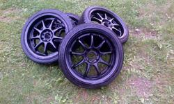 the rims are in great condition with 90% rubber still on the tires,   feel free to email me ill answer quick, 400 firm   bolt pattern -  4X100 205/40R17 they were on a 1994 volkswagen jetta and fit perfectly   NICE CHRISMAS PRESENT FOR SOMEONE THAT WANTS