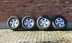 """Selling a set of 4 .... 17"""" aluminum rims off of a 2005 chevy silverado... the rubber is done but the rims are in good shape...asking $375  (willing to meet in London for drop off)"""