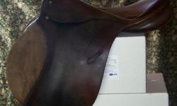 Used, Dark Brown, medium trees, cut back for high withers, longer, straighter flap, solid made, excellent shape, stitching intact, no leather tears. Was used for eventing- jumping, cross-country and dressage. $400 or best offer.