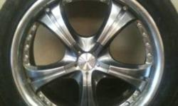 I have a set of universal 5 bolt rims they are 18 inch will fit pretty much any front wheel drive car have four good tires  looking for intresting trades....ex iphone 4,83-88 chevy or gmc truck parts