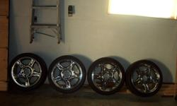 6 stud 18x8 with 225x40 tires very good shape fits gm mazda nissan trucks 400.00 call 807-939-1388 kevin.