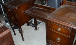 1930's/1940's bedroom suite.  Double bed, chest of drawers, double dresser, mirror, vanity with mirror and stool.  Needs refinishing or can be painted if that is what you like.  More pictures to follow.