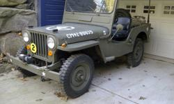 1946 Willy's Jeep CJ2A with Trailer. Original engine - electics upgraded to 12 volts.   2006 refurb included: Brakes, Starter, All five Tires and Rims, Gallon gas tank, Antenna, Shift knob, Mirrors.   Windsheild installed is from CJ3A model Willy. Seats