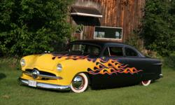 """1949 Ford 2dr Custom Chopped 5 1/2"""" Satan Black Flammed Red Custom interior from a 1966 Thunderbird 5 litre from 1991 Linclon complete rebuild C4 Auto 8"""" Ford Rear end Front disc rear drum and much more!!!!! Featured in V8 Passion Mag June 2010 May except"""