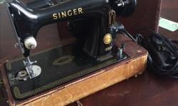 This is my grandmothers sewing machine she passed down to me I don't use it and I have no room for it in my home. Very clean barely any scratches comes with case.