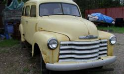 1950 Chev Suburban, Clam Shell Rear Doors, Good Rear Window. No Interior, Engine, or Transmission. Needs lots of TLC. More detailed photos. $2,600.00 Located in Barrie Jerry 705-435-6672 Home 416-985-2235 Mobile