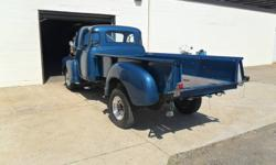 1953 Chevrolet A/D 1 Ton 5 window deluxe long box pickup truck, with eight bolt alloy wheels, Michelin tires, hydraulic dump box, 235 cubic inch six cylinder engine (the first year of the 235 and full pressure oiling), four on the floor, wired with