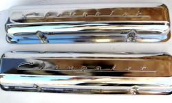 1955 56 57 58 and 59 Chevrolet factory original Chrome steel valve covers Chevrolet script, staggered holes with minor rust, dents & light scratches, very clean original shape would fit 283 s 265 cubic inch small block Chevy Bel Air, 210 Delray, 150,