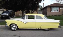 Rare 2 Dr Post 1955 Ford Custom Club 351 V 8 Automatic PS & PB & PT. New Brakes and Wheel Cylinders . Thermostat & Housing S.S Heater Hoses. Dual Exhaust With Headers. New Interior - Black & White. Exterior - Yellow & White. Motor Runs Excellent. . New