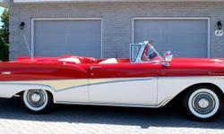 Make Ford Model Fairlane Colour Red /White Trans Automatic kms 133000 1958 FORD FAIRLANE 500 SUNLINER CONVERTIBLE Very rare Canadian built model with factory options like remote spotlight mirrors, factory continental kit, 332 ci V8, radio, clock, trunk