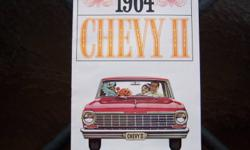 This is a 1964 Chevy II Nova dealer showroom catalog with a stapled spine (not a fold-out brochure).     Excellent condition.     Eight full-colour pages.  Shows Super Sport, other models and options.     No rips, no defacing and no pages missing.
