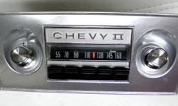 1967 1966 Chevrolet Chevy II SS Deluxe AM Delco Radio very clean dial face, bright shiny chrome, clean and original metal housing, correct 1966 outer & inner dash knobs, dash nuts , front brackets, front dash bezel faceplate, I've tested the radio and in