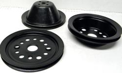 1965 66 67 68 Chevy II Chevelle Camaro Impala, Nova SBC pulley set 1962 to 1968 GM Chevrolet factory original small block pulleys single groove water pump 3905995 style original paint, crankshaft #3755820, and Add on power steering PS pulley #3755820 BB